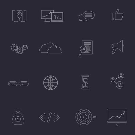 optimisation: SEO marketing outline icons set with choice optimisation social network cloud isolated vector illustration Illustration