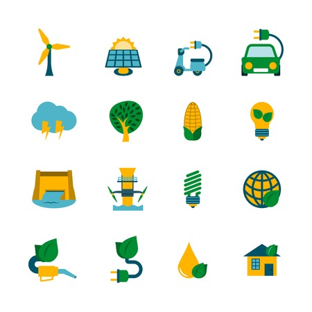 force of the wind: Industrial ecological solutions of cleaner air water production cycle systems flat icons collection abstract isolated vector illustration