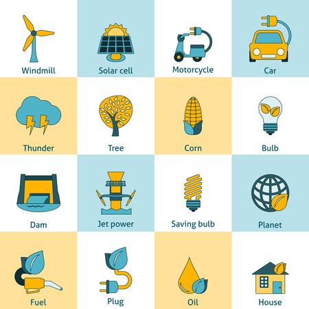 force of the wind: Modern ecologically sustainable energy saving systems flat line icons set with solar cell abstract isolated vector illustration Illustration
