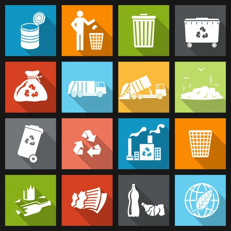 Garbage recycling icons flat set of trash bin bottle litter isolated vector illustration Vector