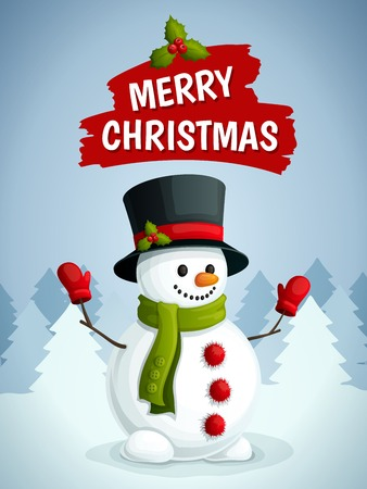 Merry christmas poster with snowman in scarf gloves and hat on winter forest background vector illustration.