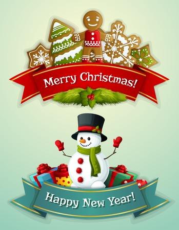 silueta hombre: Feliz Navidad y Feliz bandera nueva cinta de a�os establecido con el hombre de jengibre y mu�eco de nieve con cajas de regalo aislado ilustraci�n vectorial
