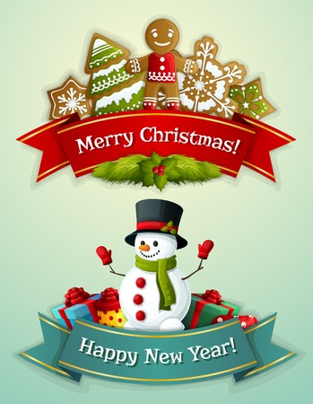 decoration style: Merry christmas and happy new year ribbon banner set with ginger man and snowman with gift boxes isolated vector illustration