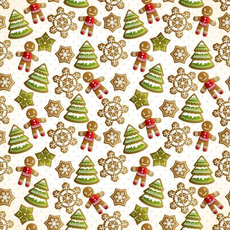 christmas cookie: Christmas holiday decoration seamless pattern with sweet cookie trees snowflakes and ginger men vector illustration Illustration