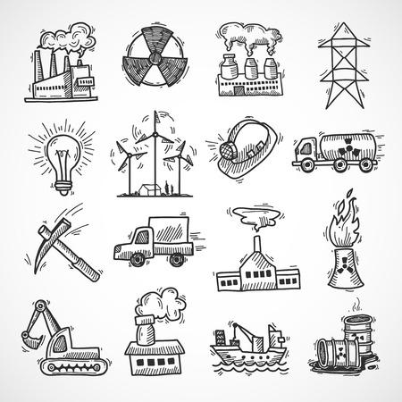 electricidad industrial: Icono de boceto industrial conjunto con la industria de la energía eléctrica y de combustible líquido símbolos aislados ilustración vectorial Vectores