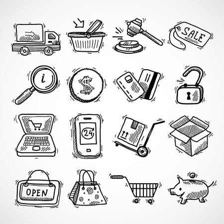 e commerce icon: E-commerce shopping icons sketch set of delivery truck credit card piggy bank isolated vector illustration