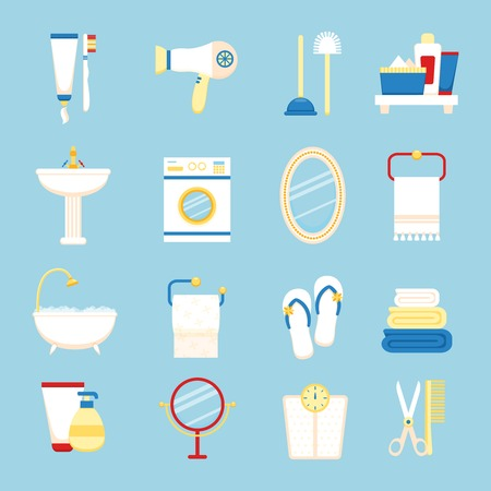 toilet brush: Bathroom icons colored set with toothpaste and brush hairdryer isolated vector illustration
