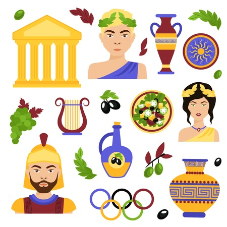 Greece decorative icons set with antique temple salad olive oil isolated vector illustration Vector
