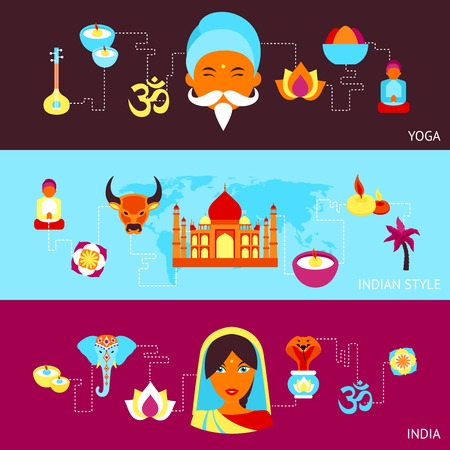 India travel culture religion yoga style symbols banner set isolated vector illustration Vector