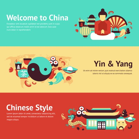 china wall: China travel asian traditional culture chinese style symbols banner set isolated vector illustration Illustration