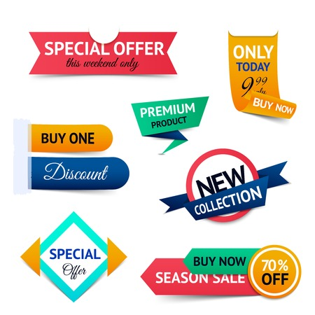 special events: Discount premium product special offer retro color origami ribbon banner set isolated vector illustration