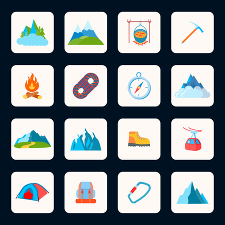Mountain icons flat set with nature park campfire axe isolated vector illustration Vector