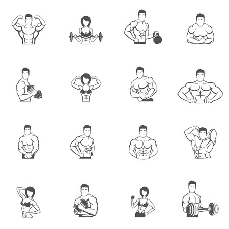 female athletes: Bodybuilding fitness gym icons black set with male and female athletes silhouettes isolated vector illustration