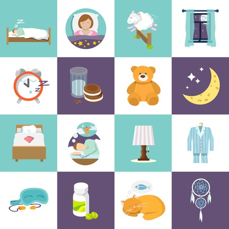 bed: Sleep time icons flat set with bed alarm clock mask isolated vector illustration. Illustration