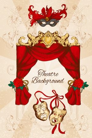 tragedy: Theatre acting performance colored sketch decorative background with scene curtain and masks vector illustration