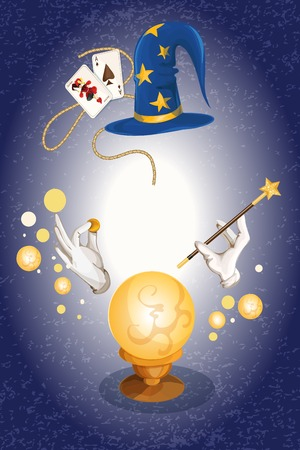 Magician decorative colored background with wizard hat golden sphere vector illustration
