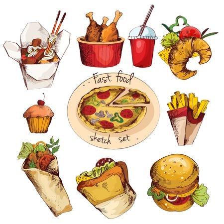 Fast food décoratifs icônes croquis colorés mis de boisson petit gâteau croissant isolé illustration vectorielle