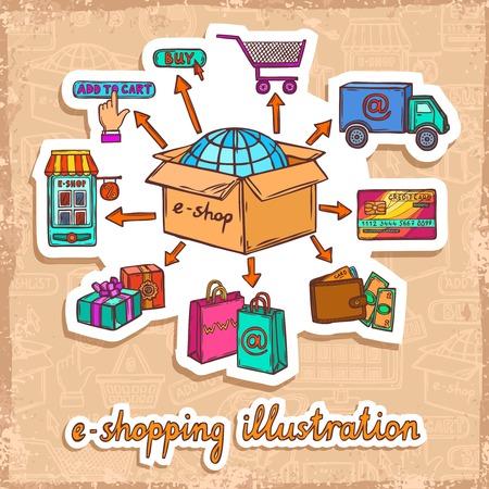 e systems: Internet shopping e-commerce mobile online purchase process sketch sticker design concept vector illustration