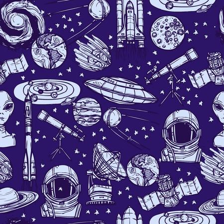 platillo volador: El espacio y la astronomía bosquejo monocromático patrón transparente con sistema solar satélite platillo ilustración vectorial