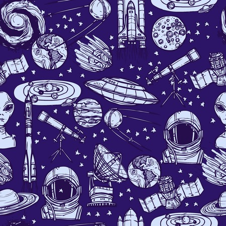 satellite in space: Space and astronomy sketch monochrome seamless pattern with saucer satellite solar system vector illustration