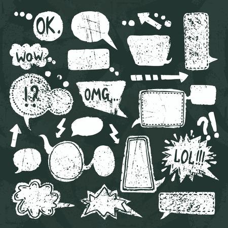 Discurso de texto en blanco Burbujas cómicas iconos decorativos pizarra establecer ilustración vectorial
