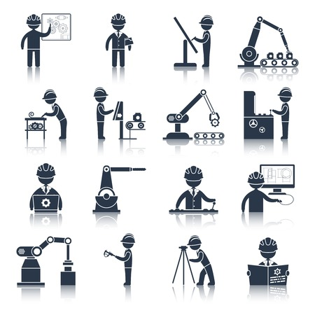 machine operator: Engineering construction process factory production black icons set isolated vector illustration