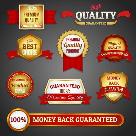 高級黄金プレミアム品質の製品最高の選択ラベル設定分離ベクトル図