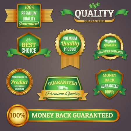 Luxury colored golden and green premium quality products best choice labels set isolated vector illustration