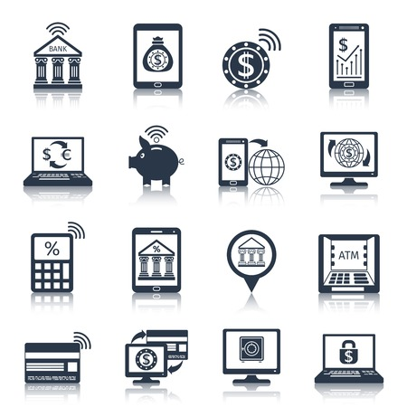 Mobile banking black icons set with phone payment digital transfer e-commerce customer services isolated vector illustration Vector