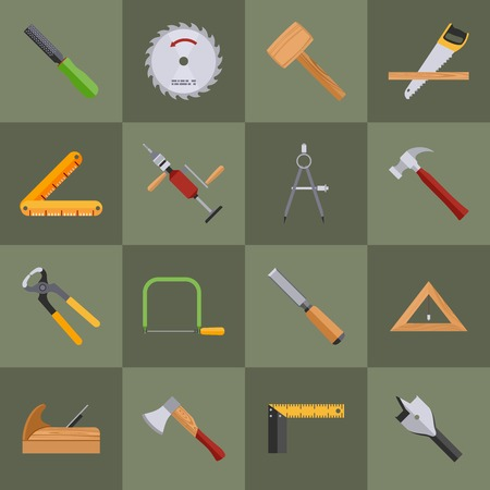 chisel: Carpentry wood work tools and equipment with pliers axe saw icons set isolated vector illustration