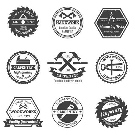 carpintero: Carpintería WoodWorks premium trabajo hecho a mano de alta herramientas emblemas conjunto aislado ilustración vectorial medición de la calidad Vectores