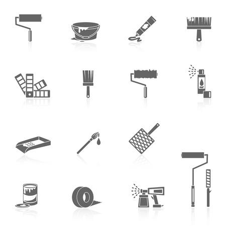Schilder pictogrammen zwart set met kleur kan borstel spuiten geïsoleerde vector illustratie emmer Vector Illustratie