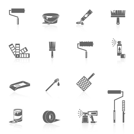 Painting icons black set with color can bucket brush spray isolated vector illustration