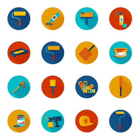 Painting house work painter tools icons colored set with spray tray bucket isolated vector illustration