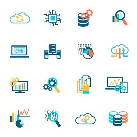 Iconos de gestión de base de datos de análisis de la información de la red de tecnología plana conjunto aislado ilustración vectorial