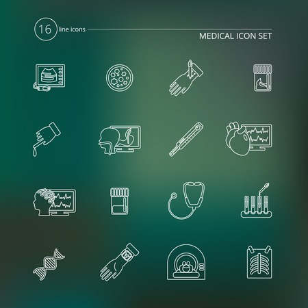 stool test: Medical tests health care outline icons set with blood stool examination urinalysis isolated vector illustration