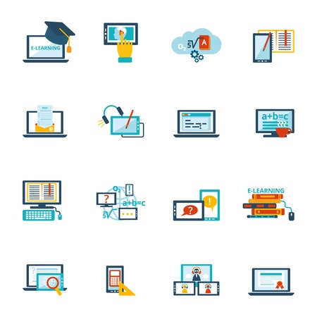 web conference: Online education e-learning video tutorial training flat icons set vector illustration