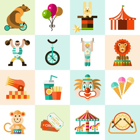 entertainment tent: Circus entertainment flat icons set with tent clown balloons isolated vector illustration