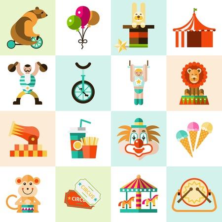 payaso: Iconos planos entretenimiento Circo establecen con globos payaso carpa aislado ilustraci�n vectorial