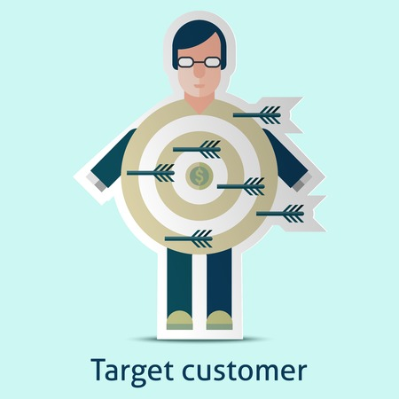 target: Target customer concept with person in suit with dartboard target in the middle vector illustration
