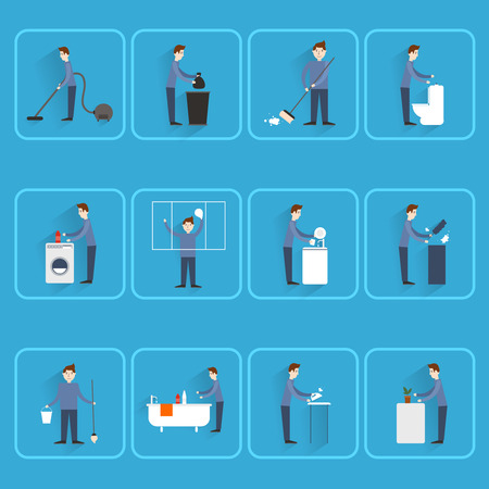 washing dishes: Cleaning people icons set with dust sweeping ironing dishes washing isolated vector illustration