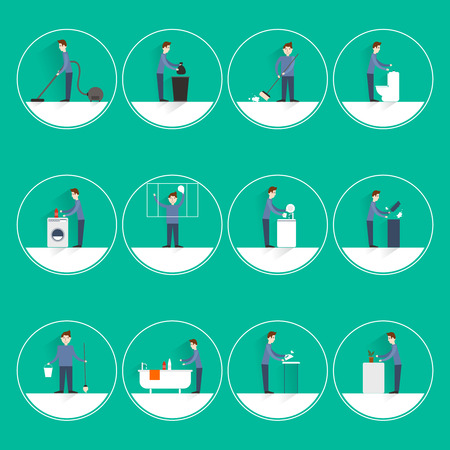 chores: Cleaning people flat round button icons set with vacuuming garbage throwing sweeping isolated vector illustration Illustration