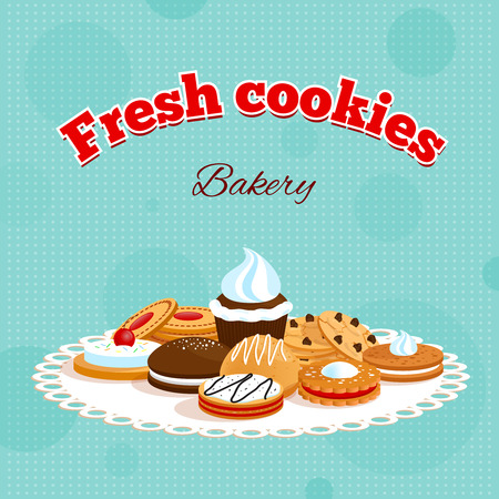 chocolate chip: Bakery retro poster with fresh cookies lettering and different desserts on table napkin vector illustration