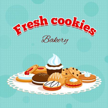 Panadería cartel retro con galletas letras frescas y diferentes postres en la mesa de la ilustración servilleta vector Foto de archivo - 33224887