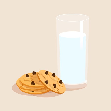 milk and cookies: Glass of milk and chocolate sweet snack cookies decorative set vector illustration Illustration
