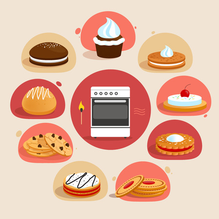 chocolate chip: Sweet sugar tasty food cookies bakery decorative icons set with oven in the middle isolated vector illustration Illustration