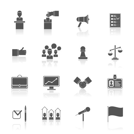 congresses: Elections and voting black icons set with rating debate megaphone isolated vector illustration Illustration