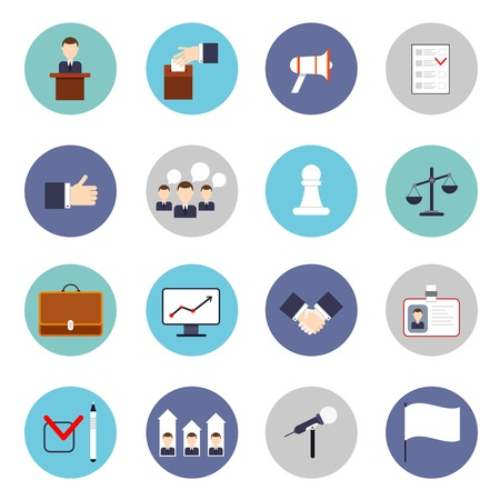 campaigning: Elections and voting flat icons set with discussion microphone rating isolated vector illustration