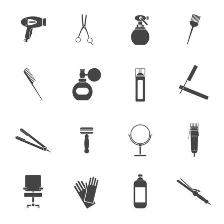 black barber: Hairdresser styling accessories professional haircut black icon set with hair-dryer scissors spray brush isolated vector illustration Illustration