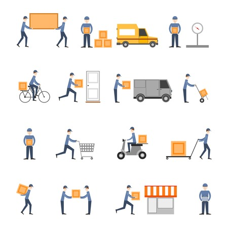 warehouse: Delivery person freight logistic business service icons flat set isolated vector illustration